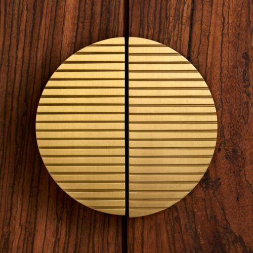 Modern Art Deco Striped Brass Half Moon Door Handles Wardrobe Cabinet Pulls