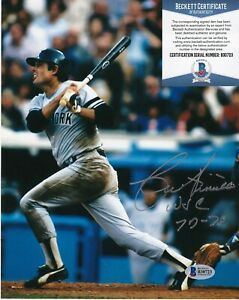 LOU PINIELLA NEW YORK YANKEES WSC 77-78  BECKETT AUTHENTIC  SIGNED 8x10