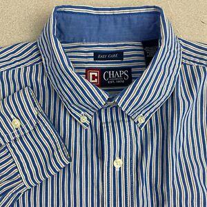 Chaps-Button-Up-Shirt-Mens-M-Blue-White-Long-Sleeve-Cotton-Striped-Casual-Shirt