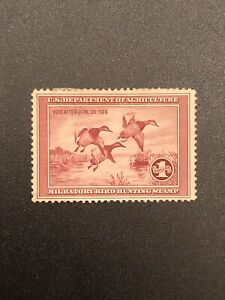 1935-US-RW2-Federal-Duck-Migratory-Bird-amp-Hunting-Dept-Agriculture-1-Red-Stamp