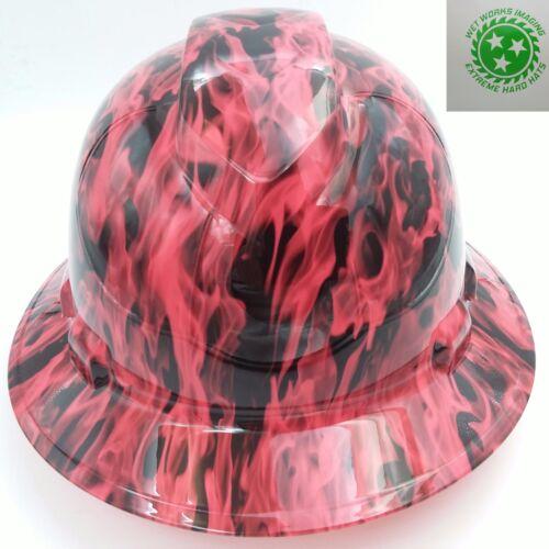 WICKED FIRE HI VIS PINK WOW Hard Hat FULL BRIM custom hydro dipped OSHA