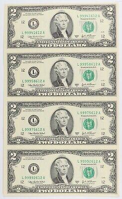 2003 A $2 Bill 4 Note Uncut Sheet San Francisco District In Original BEP Card