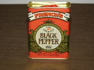 "VINTAGE KITCHEN 1880-1980   3 3/4"" HIGH FRENCH'S BLACK PEPPER TIN *EMPTY*"