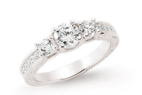 Trilogy Ring Engagement Ring Platinum Plated Sterling Silver Three Stone Ring