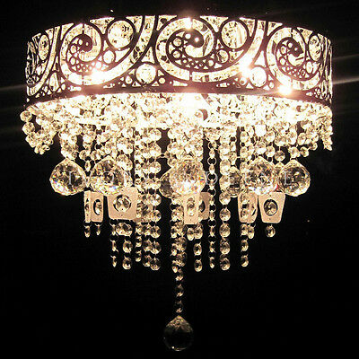 VINTAGE GLASS CRYSTAL Beads Pendant Chandelier Light Lamp Stunning Silver Chrome
