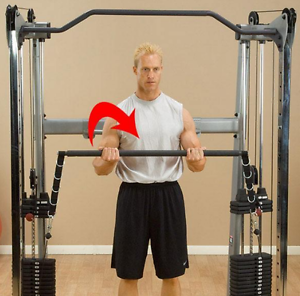Dual-Press-Bar-Body-Solid-GDCCBAR-Assists-w-Exercises-on-Functional-Trainers