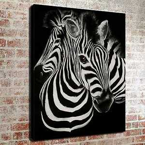 BLACK AND WHITE ZEBRA OIL PAINTING STYLE BOX CANVAS PRINT WALL ART PICTURE