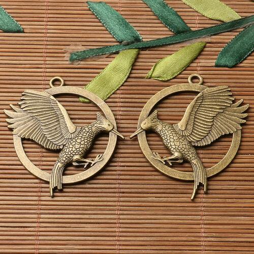 2pcs antiqued bronze color 40mm wide flying bird design  charms  EF3339