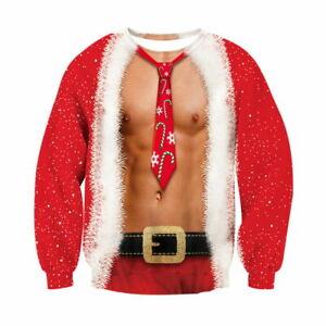 Sueter-De-Navidad-Hombre-Mujer-Fea-Gracioso-Sudadera-Jumper-sueter-de-impresion-3D-Navidad
