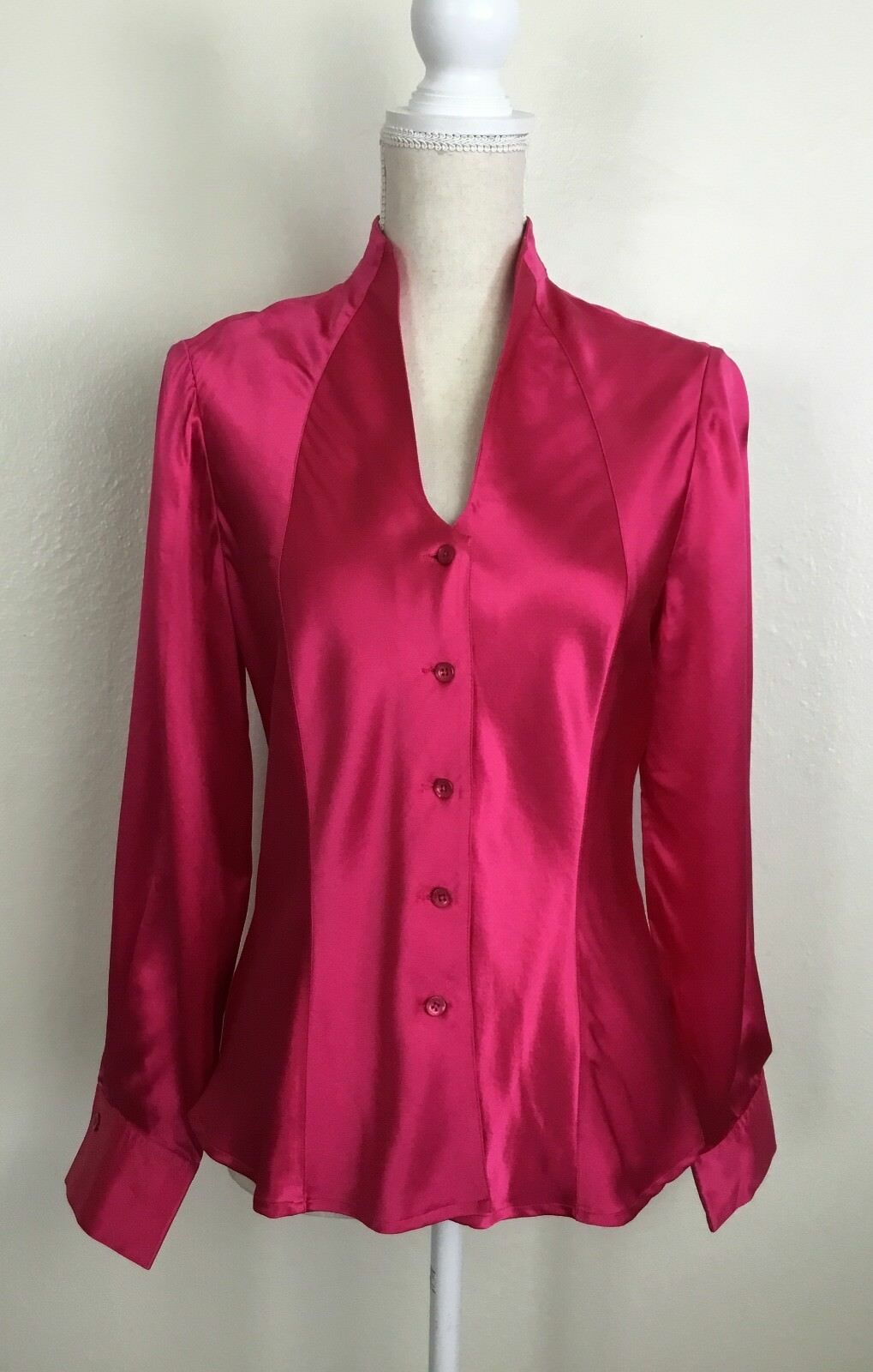 New Austin Reed Silk Button Down Blouse Top Long Sleeve