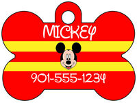 Disney Mickey Mouse Pet Id Dog Tag Personalized W/ Name & Number