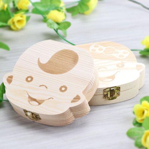 Wooden Tooth Storage Box for Kids Children Baby Teeth Holder Keepsake Organizer