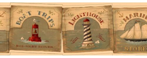 Retro Coastal Signs Wallpaper Border Buoys Lighthouses SALE! Schooners