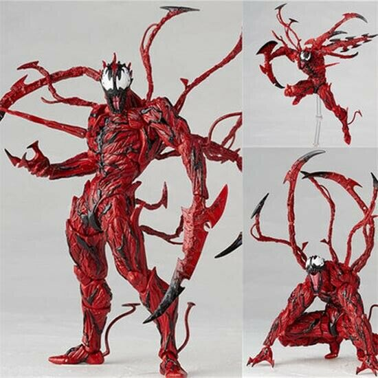Revoltech Series PVC Action Figure Toys Marvel Spider Man Carnage Red Venom No