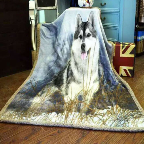 Soft Blankets The Wolf pattern berber Fleece flannel thick Warm duplex felt