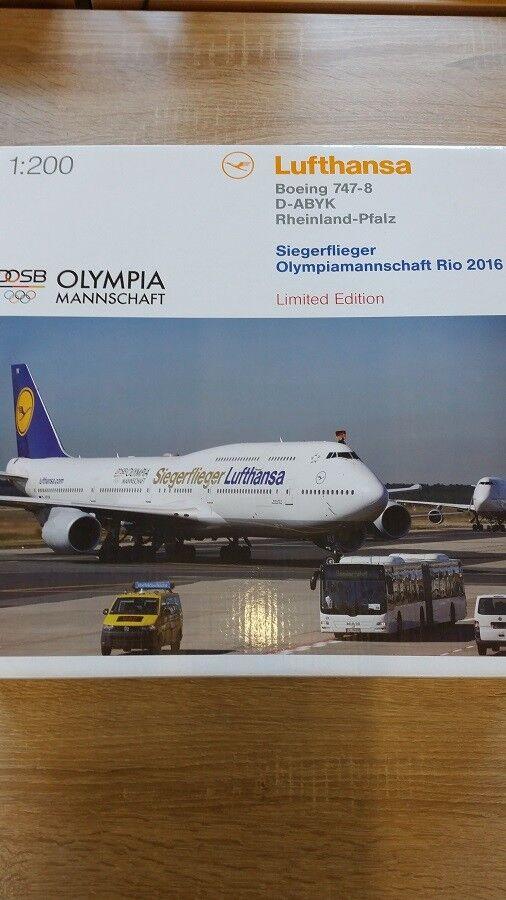 Herpa 558402 - 1 200 boeing 747-8 intercontinental-vencedor aviador Olympia 2016