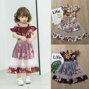 Toddler Kids Baby Girls Flower Vest Floral Ruffle Mesh Dress Summer Tutu Clothes