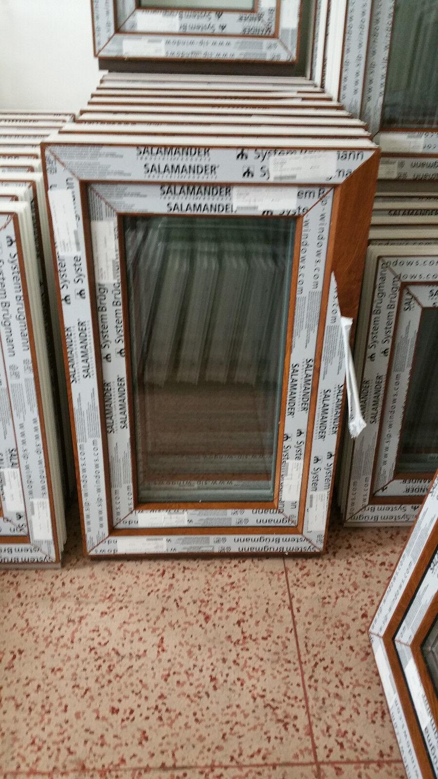 Kunststofffenster Salamander 60x80 cm (b x h), Eiche Gold, 1-flügelig