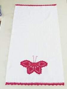 VTG-Penny-039-s-Crocheted-Dish-Towel-Red-Butterfly-Waffle-Weave-Dresser-Scarf