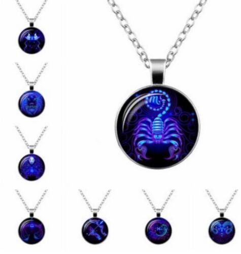 Collier Pendentif Médaillon Signes du Zodiaque Constellation en Verre 50CM SP