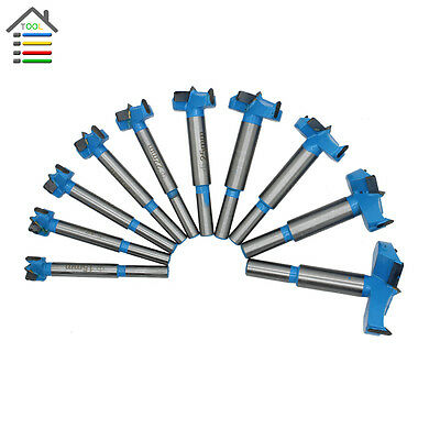 10pc 10-50mm Professional Forstner Woodworking Hole Saw Cutter Drill Bit