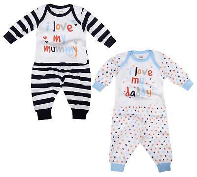 Baby Boys Pyjama Sets I Love My Mummy I Love My Daddy Cotton Long PJ Set