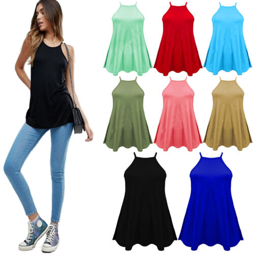 New Women Ladies High Neck Cami Vest Swing Camisole Top Sleeveless Tank Plus8-26