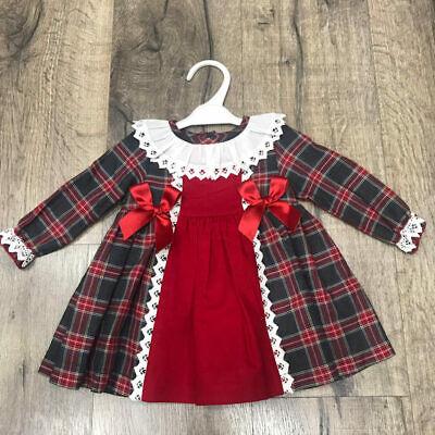 Petite * Bébé Filles Rouge espagnole tartan gris dentelle froncée et des noeuds en ruban Doublé Robe