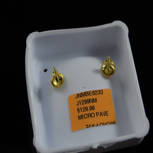 New Men/'s Flat Screen 15 MM White on Yellow Gold Finish Lab Diamond Stud Earring