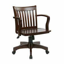 Swivel Office Desk Bankers Chair Delux Rolling Adjustable Solid Wood Espresso