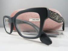 Miu Miu VMU 01O 1BO-1O1 Matte Black Rocks Crystal New Eyeglasses 54mm with Case