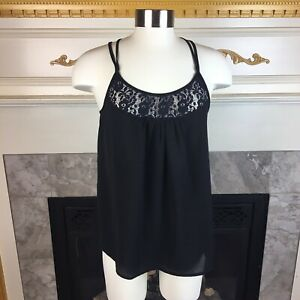 New-MODCLOTH-Anthropologie-M-Navy-Blue-Lace-Double-Criss-Cross-Straps-Top