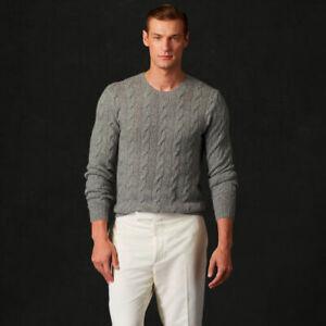$995 Ralph Lauren Purple Label Cashmere Cable Knit Slim Fit Crew Neck Sweater