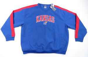 NWT-Kansas-Jayhawks-NCAA-Embroidered-Sewn-Blue-Pullover-Windbreaker-Jacket-XL