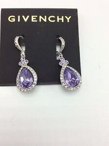 Image Is Loading 45 Givenchy Pave Pear Violet Large Teardrop Earrings