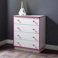 Four Drawer Dresser Wood Bedroom Furniture Girls Storage Chest White Pink