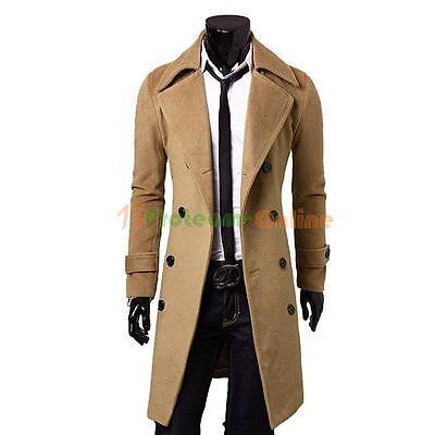 Men's Slim Stylish Trench Coat Winter Warm Long Jacket Double Breasted Overcoat
