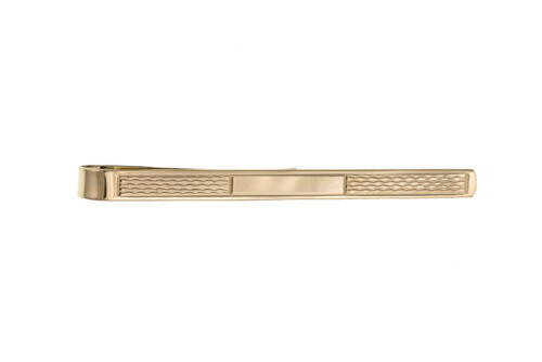 Gold Tie Slide Clip Solid Yellow Gold Engine Turned British Made Hallmarked