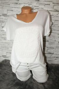 Italy-T-Shirt-Vintage-Gr-36-38-40-42-Shirt-Puder-weiss-blogger-3D-Print-NEU
