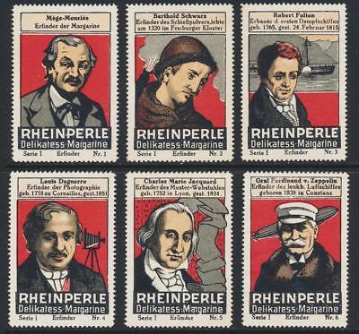 """"""" Rheinperle Delikatess Margarine Serie 1 (# 1-6 German Poster Briefmarken üBerlegene Leistung"""