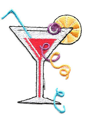 cocktail tropical drink Embroidery Iron//sew on patch applique badge Motif