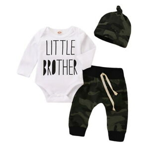 Infant Baby Boys Long Sleeve Bodysuit+Camouflage Pants+Hat 3Pcs Outfits Set NEW
