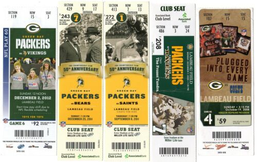 ONE TICKET LATE 2000s @ GREEN BAY PACKERS FULL TICKET STUB