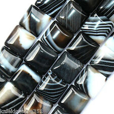 BLACK STRIPED AGATE BEADS DOUBLE STRAND SQUARE 2 HOLE 10MM BEAD SD23