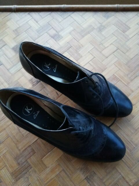 Clarks Womens Black Leather Court Shoes
