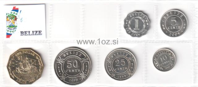 BELIZE SET 4 COINS 1 5 10 25 CENTS 2000-2007 KM 114-117 UNC