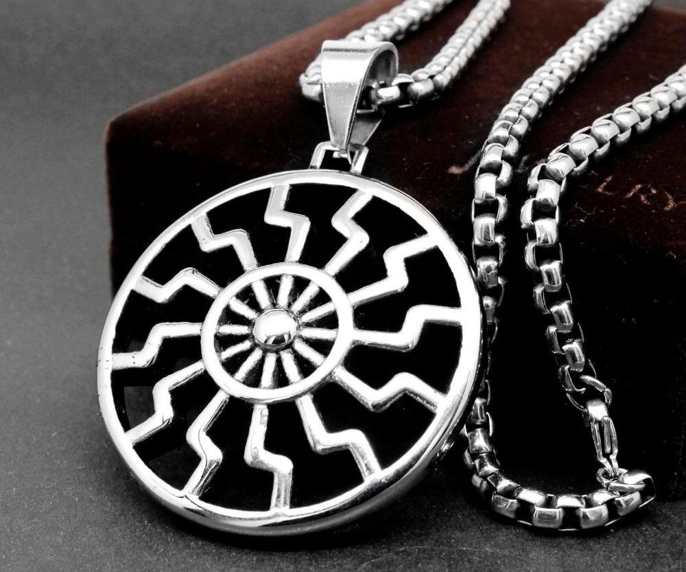 Black Sun Ancient German Pendant Necklace Antique Jewelry For Man Unisex