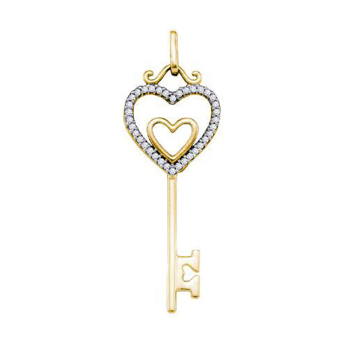10K Yellow Gold 0.10ctw Diamond Micro Pave Key Pendant