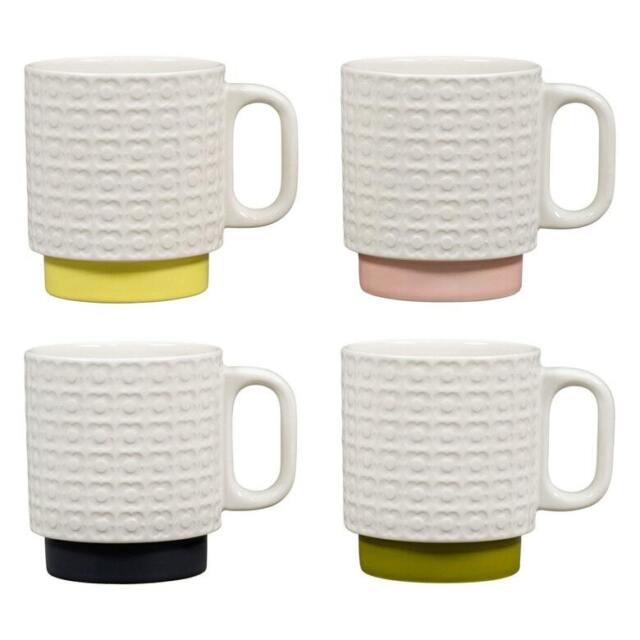 Orla Kiely Set of 4 Ceramic 330ml Stacking Mugs Pressed Flowers New /& Boxed