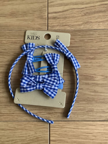 5 Piece M /& S Blue Check Hair Bands Hair Clips Bow and Head Band Set BNWT RRP£5